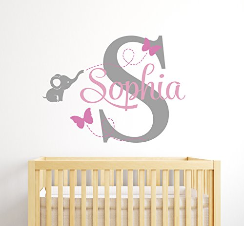 Customized Elephant Name Wall Decal for Ladies – Baby Room Decor ...